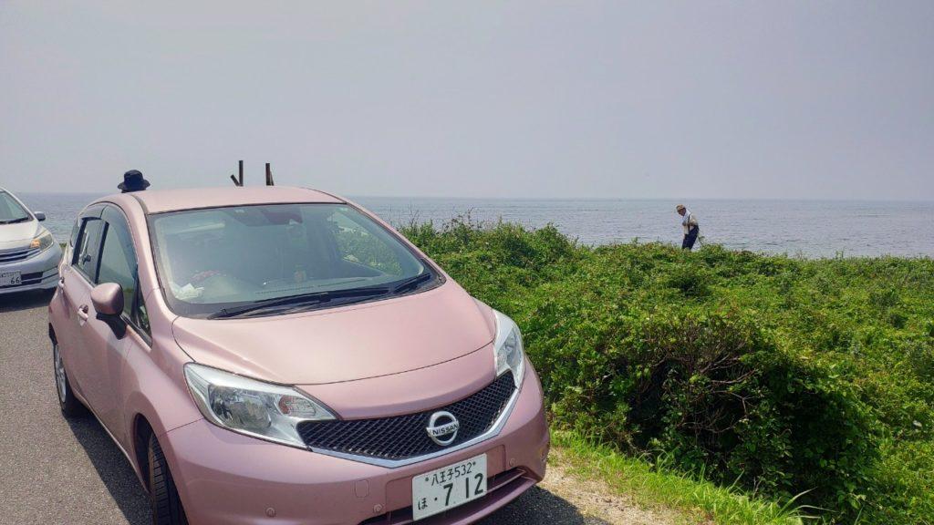 角島の海岸、駐車場はない
