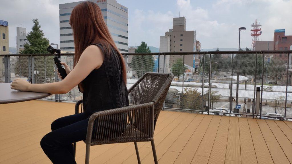 徳山駅の施設のテラス席より