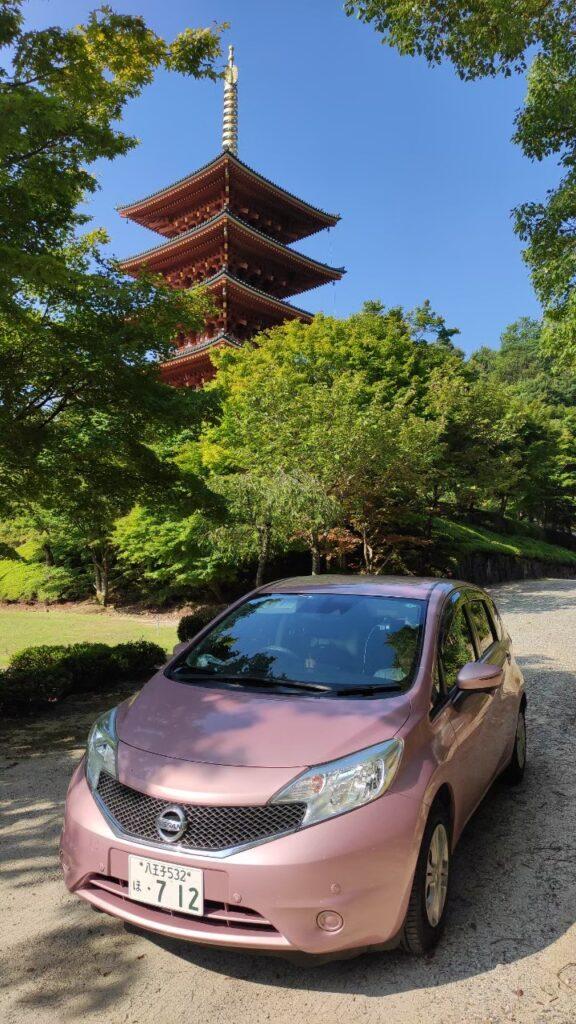 海の京都、成相寺の五重塔と日産ノート