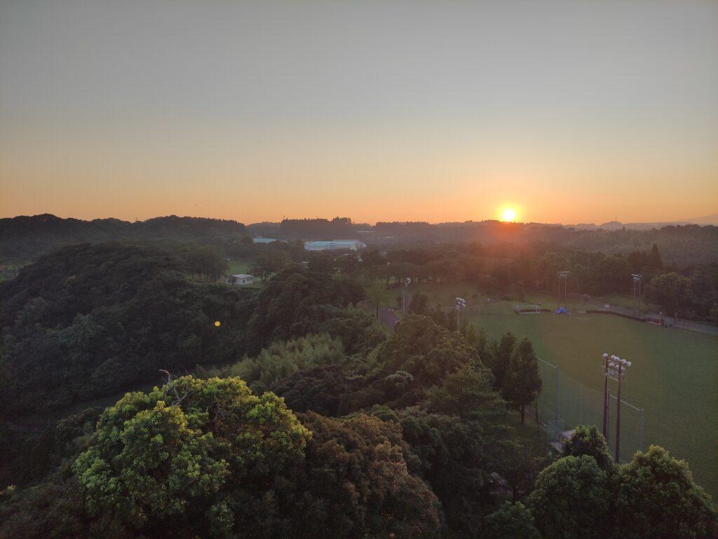 健康の森公園の展望台からの夕陽